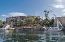 Gammal starr Aswan, Egypten för hotellSofitel legend royaltyfri foto