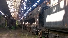 Gammal steamloco 424 royaltyfri bild