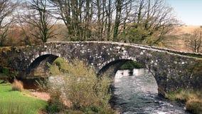 Gammal stenbro över floden lager videofilmer