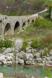 Gammal stenbro ?ver floden Albanien Scutari fotografering för bildbyråer