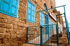 Gammal stenfasadtunnland Israel Arkivbild