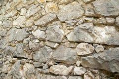 Gammal stengrå färgvägg, närbild detaljerad verklig sten för bakgrund mycket Royaltyfri Foto