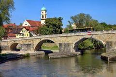 gammal stensikt för bro Royaltyfria Bilder