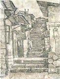 Gammal stentrappa arkivbilder