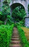 Gammal stentrappa bland gräset Royaltyfri Foto