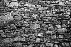 Gammal stenvägg Svartvit bild Royaltyfri Foto
