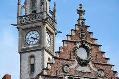 Gammal stolpe - kontorstorn i Ghent, Belgien Arkivfoto