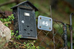 Gammal stolpeask på staketet Royaltyfria Foton