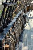 Gammal stor riggning och mast för seglingskepp Fotografering för Bildbyråer