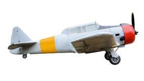 Gammal stridsflygplan på vit bakgrund arkivbilder