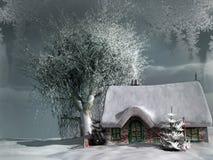Gammal stuga i en vinter Arkivfoton