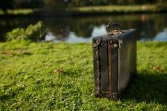 Gammal svart resväska vid floden Fotografering för Bildbyråer