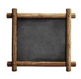 Gammal svart tavla eller svart tavla med den isolerade träramen Royaltyfri Fotografi