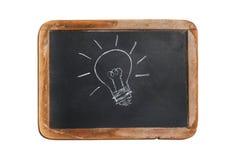 Gammal svart tavla med lightbulbteckningen Royaltyfri Foto