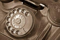 Gammal svart telefon Fotografering för Bildbyråer
