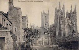 Gammal svartvit vykort för tappning av ärkebiskops slott, Canterbury, UK arkivbilder