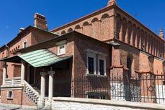 Gammal synagoga i judiskt område av krakow - kazimierz på szerokagatan i Polen Arkivfoto