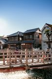 Gammal tappning Ja Ja eller Toyohashi bro i Sawara, Katori, Chiba royaltyfri foto