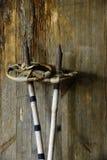 Gammal tappning skidar poler på ett trä Arkivfoto