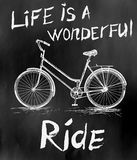 Gammal tappningaffisch med cykeln för retro design Royaltyfria Bilder