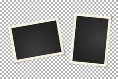Gammal tappningfotoram på genomskinlig bakgrund Horisontal- och vertikalt tomt gammalt fotografi på det klibbiga bandet Urklippsb stock illustrationer