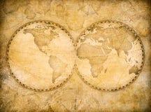 Gammal tappningvärldskarta som baseras på bilden som möbleras av NASA royaltyfri illustrationer