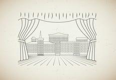 Gammal teckningssceniskplats Arkivbild