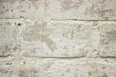 Gammal tegelstenvägg av den vita färgcloseupen Royaltyfri Bild