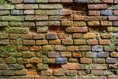 Gammal tegelstenvägg i en bakgrundsbild fotografering för bildbyråer