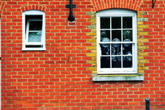Gammal tegelstenvägg i England Arkivfoton