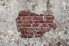 Gammal tegelstenvägg med murbruk på den Alcatraz ön Royaltyfri Fotografi
