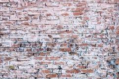 Gammal tegelstenvägg suddig med målarfärg Royaltyfri Foto