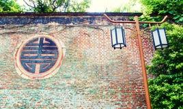 Gammal tegelstenvägg, vägg för röd tegelsten Arkivfoto
