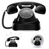 gammal telefon för svarta symboler royaltyfri illustrationer
