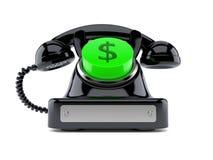 Gammal telefon med dollarknappen stock illustrationer