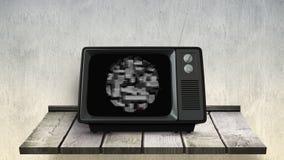 Gammal television med statisk elektricitet lager videofilmer