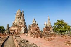 Gammal tempel, Wat Chaiwatthanaram Temple av det Ayuthaya landskapet Arkivfoton