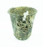 Gammal tenn- kopp med trähjorten Arkivfoto