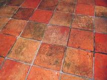 Gammal terrakotta belagt med tegel golv royaltyfria bilder