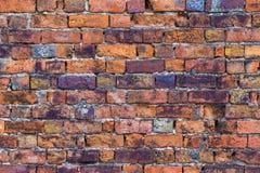 Gammal textur för bakgrund för fläcktegelstenvägg Royaltyfri Foto