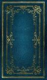 gammal textur för blått ramguldläder Arkivbilder