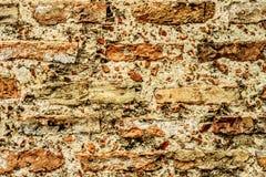 Gammal textural vägg för tegelsten som bakgrund Royaltyfria Bilder