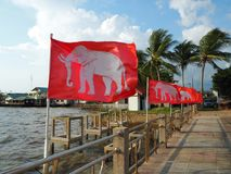 Gammal thailändsk flagga royaltyfri fotografi
