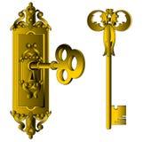 gammal tid för key lås Royaltyfri Fotografi