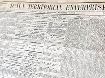 Gammal tidning, Virginia City, Nevada Arkivfoton