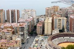 Gammal tjurcirkel i Malaga, Spanien royaltyfria bilder