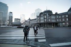 Gammal Tokyo järnvägsstationbyggnad Fotografering för Bildbyråer