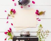 Gammal tom fotoram, retro kamera, fotofilmrulle och blommor royaltyfri foto