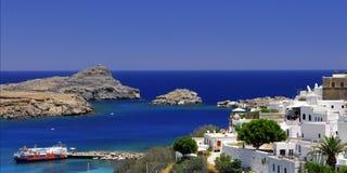 gammal town för grekiska lindos Arkivfoto