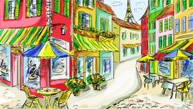 gammal town för illustration Royaltyfria Foton